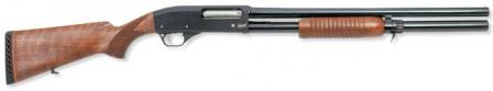 MP-133 shotgun with wooden stock and extended magazine.