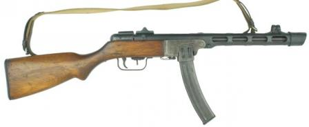 late production Shpagin PPSh-41 submachine gun, with box magazine and flip-uprear sight.