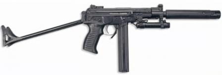 OTs-02 Kiparis submachine gun, fitted with optional silencer and laser aiming module.