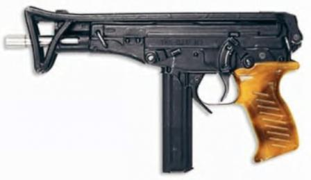 OTs-02 Kiparis submachine gun with butt folded; note different color of the plastic grip (early production model).
