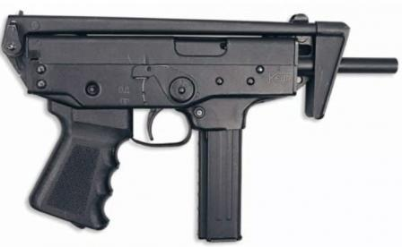 Kedr submachine gun, right side, with 20-round magazine and butt folded.