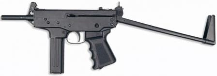 Klin submachine gun, with butt opened.
