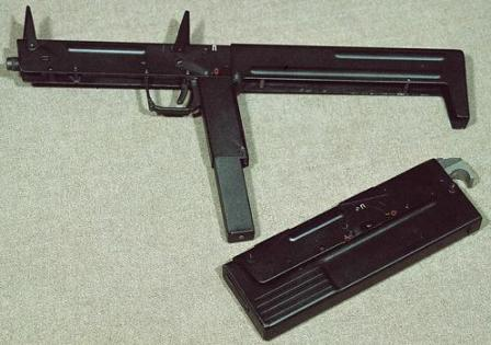 PP-90 submachine gun in ready to fireand folded positions.