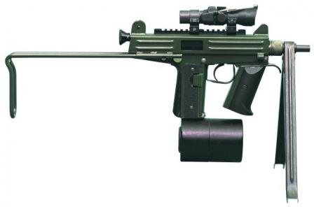 CBJ-MS PDW / Submachine gun with 100-round drum magazine, Aimpoint sight and optional bipod.