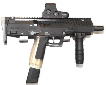 STK CPWprototye with red dot sight and telescoping butt collapsed.