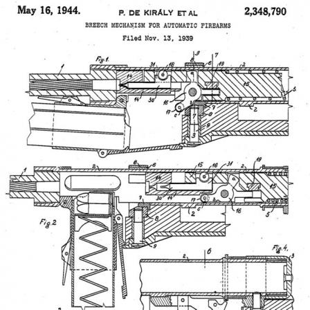 Kiraly's patent for his delayedblowback action used in 39M and 43M submachine guns.