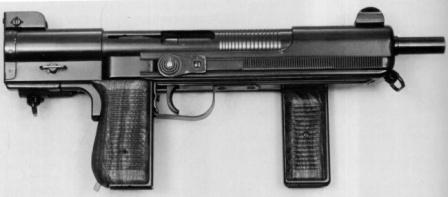 Mendoza HM-3 submachine gun, original 1970-80's era model, butt folded, magazine removed.
