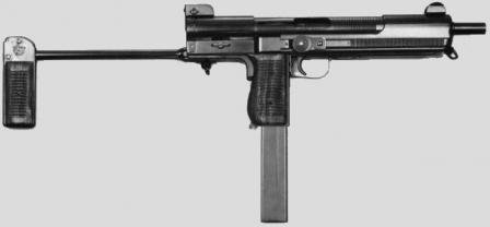 Mendoza HM-3 submachine gun, original 1970-80's era model, ready to be fired.
