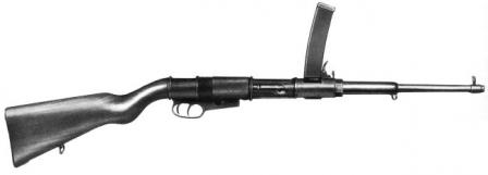 Villar-Perosa OVP M1918 makineli tabanca (otomatik karabina).  Tek namlulu el makineli tabanca orijinal Villar-Perosa M1915 silah 1/2 üretti.