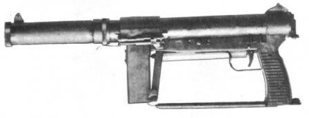 SCK-65 submachine gun; butt folded, magazine removed.