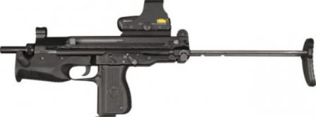 PM-06 submachine gun, buttstock retracted, with optional red-dot sight.