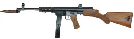 Extensively reworked Rexim Favor submachine gun with fixed butt and switch-blade type bayonet, as used by Turkish army in late 1960s.