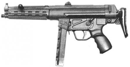 Пистолет-пулемет HK MP-54, или HK 54 -предсерийная модель (1965). Ранние ПП MP-5A1,принятые на вооружение германской полицией и пограничной стражей, выглядели точно также. Обратите внимание, что дульная часть ствола и прицельные приспособления отличаются от более поздних моделей. Магазин также раннего типа, прямой.
