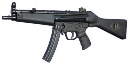"""HK MP-5A2 с фиксированным прикладом и цельнопластиковым модулем УСМ смаркировкой """"S-E-F"""" (""""безопасно -одиночные - очередь"""")."""