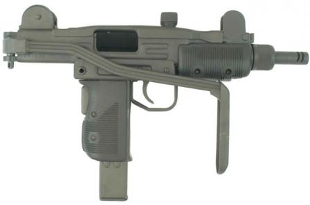 Mini-Uzi submachine gun with shoulder stock folded.