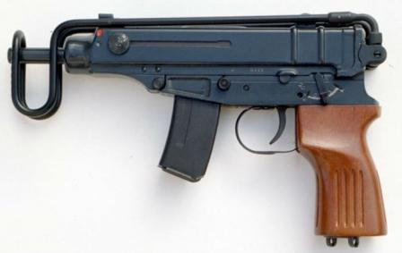 Scorpion SA Vz 61 submachine gun, with 10-round magazine. Shoulder stock folded.