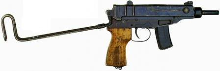 Scorpion SA Vz 61 submachine gun with shoulder stock unfolded.