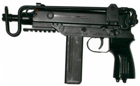 the last in Scorpion line - SA 361 submachine gun, chambered for 9x19 Luger /Parabellum ammunition.