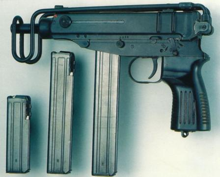 Scorpion SA Vz 82 submachine gun, chambered for 9x18 PM ammunition.