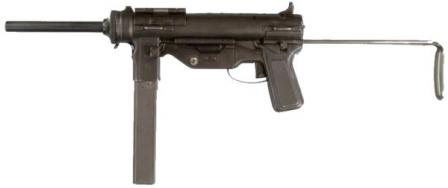 M3 submachine gun, left side view, shoulder stock fully retracted.