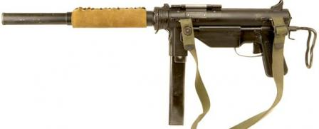 Rare version of M3A1 submachine gun, fitted with integral silencer.
