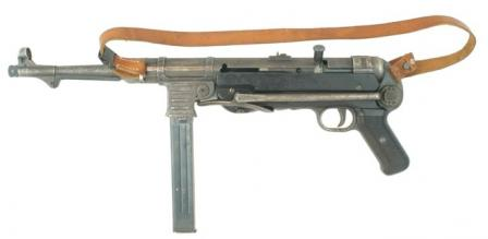 MP-40 submachine gun, with shoulder stock folded.