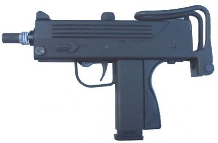 Ingram M11 in 9mm Short (9x17, .380ACP) caliber, as made by RPB Industries, with 16-round magazine.