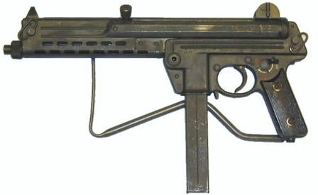 Walther MPL submachine gun, left side view, with buttstock folded.