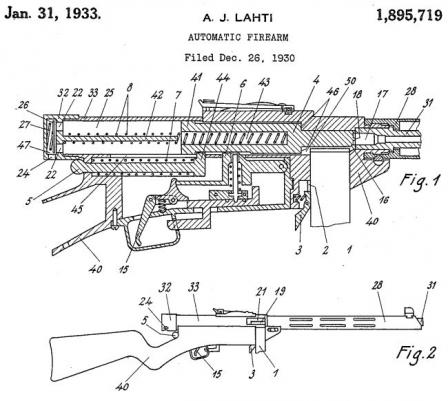 Images from US patent issuedto Aimo Lahti for basic design of Suomi submachine gun.