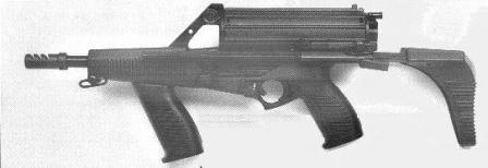 Calico M960 9mm submachine gun with 50 rounds magazine, collapsed butt and front grip.