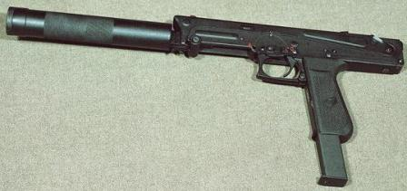 PP-93 submachine gun with folded butt and attached silencer.