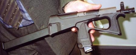 PP-2000 as displayed at Interpolytech-2004 exhibition in Moscow; note spare magazine inserted at the rear of the gun to serve as a shoulder support.