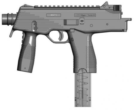 The B+T MP 9 submachine gun (drawing), with shoulder stock folded.
