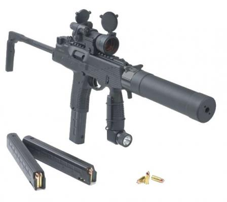 The B+T MP 9 submachine gun, with red dot sight, tactical light, B+T silencer(suppressor) and spare magazines.