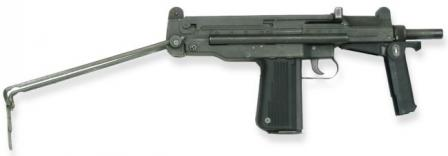 PM-84P submachine gun, with shoulder stock retracted and forward grip unfolded.