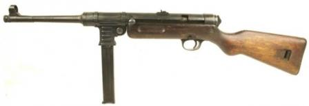 Haenel / Schmeisser MP-41 submachine gun, left side.