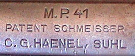 "Receiver markings of MP-41, showing characteristic ""Patent Schmeisser"" inscription."