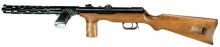 Erma EMP-35 submachine gun, left side view. Note flip-up rear sight and additional manual safety on the receiver.
