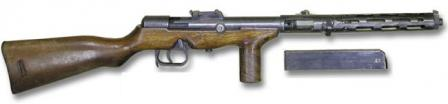 Erma EMP-35 submachine gun (variant with tangent sight), right side view; magazine removed.
