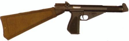 MCEM-2 experimental submachine gun, with shoulder stock / holster attached.