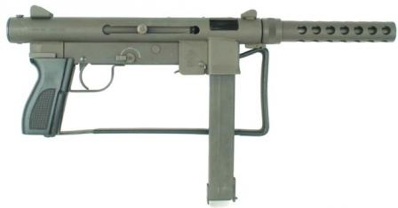 Smith & Wesson M76 submachine gun, right side; shoulder stock folded.