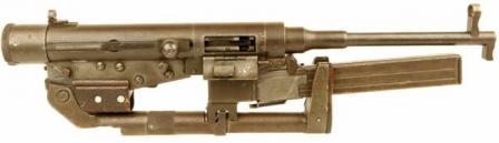 """Hotchkiss """"tipi Evrensel"""" çökmüş yapılandırmada makineli tabanca (paketin büyüklüğü daha thebarrel geri alıcı içine yaklaşık 1/2 uzunluğu ile iç içe azalmış olabilir unutmayın)."""