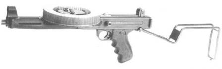 MGV-176 submachine gun, butt opened.