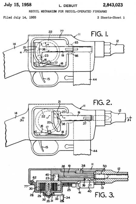 Drawing from original US patent, issued for design of the MGD submachine gun.