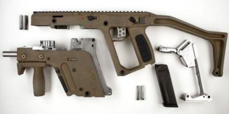TDI Kriss Super V™submachine gun, prototype, disassembled into basic components.
