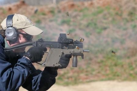 Prototype Kriss Super V™submachine gun is being fired by Tom Maffin of TDI.