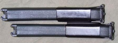 "Two magazines for PP-19""Vityaz"" submachine gun, clipped together using special clip."