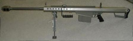M82A3 rifle, also known as M82A1M, latest version developed for US Army. Note the long Picatinny rail on the top of the receiver.