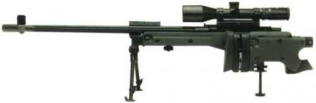 Accuracy International Arctic Warfare Folding (AI AWF 7,62) 7.62x51 sniper rifle, with buttstock folded.