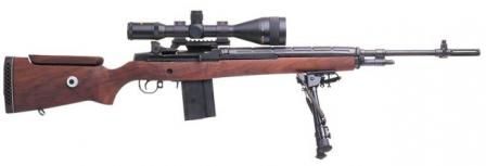 Current productsion Springfield M1A target rifle set up to duplicate M21, but with modified wooden adjustable stock.